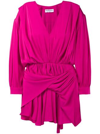 dress women silk purple pink