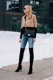 fashionjackson,blogger,sweater,jeans,shoes,bag,sunglasses,thigh high boots,chanel bag