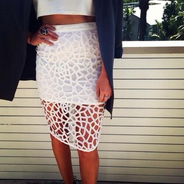 Skirt: white skirt, pencil skirt, white, see through - Wheretoget