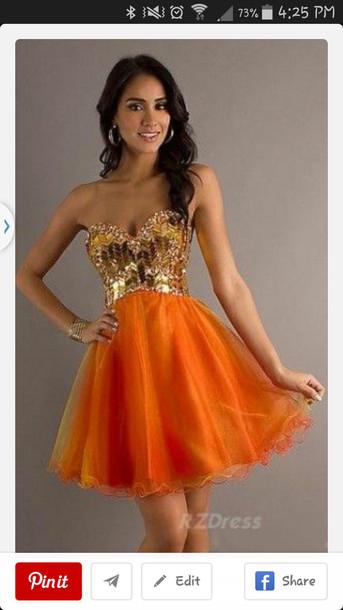 prom dress, short dress, orange, orange prom dress, gold - Wheretoget