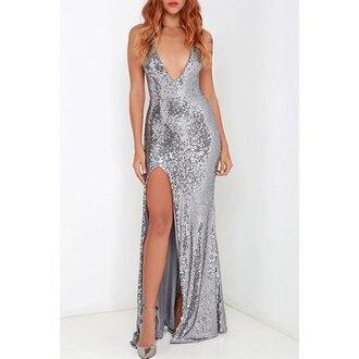 dress sequins sequin dress silver silver dress silver sequin dress slit dress silver slit dress glitter sparkle