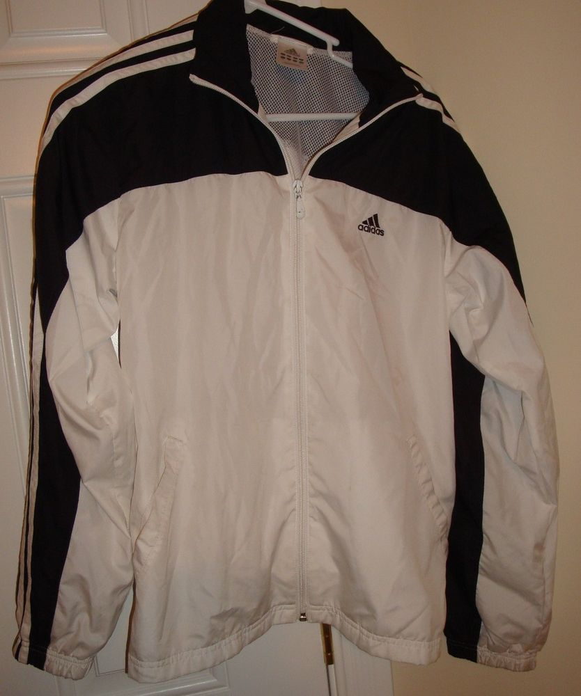 Adidas White Black Mesh Lined Windbreaker Jacket | eBay