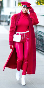 coat,red,red pants,olivia culpo,turtleneck,cardigan,boots,pants,top,gloves