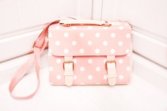 bag polka dots shoulder bag pink bag pink