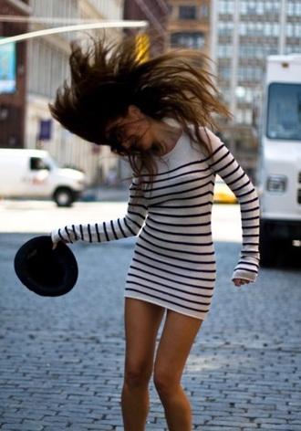 dress sweater dress striped sweater dress stripes cream white black mini dress bodycon bodycon dress tunic sweater