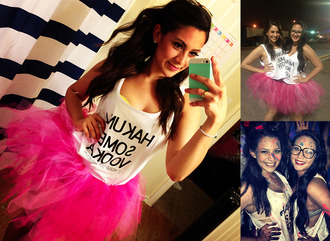tank top hot pink hakuna matata lion king white tank top tulle skirt neon skreened skirt