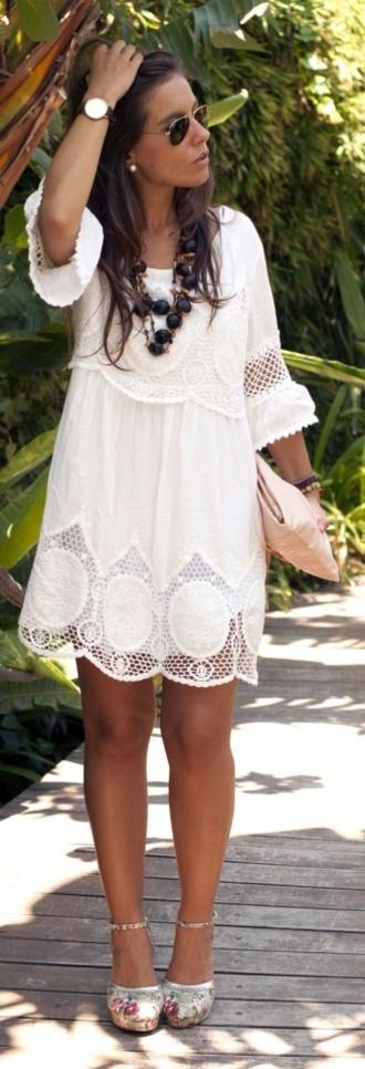 dress crochet lace white white lace dress boho dress 3/4 sleeve dress white crochet dress