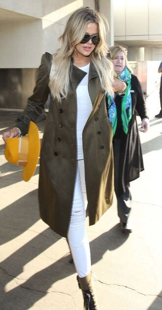 jeans ripped jeans white jeans trench coat khloe kardashian coat hat white ripped jeans
