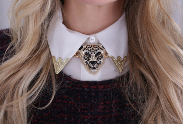 jewels neck necklace pretty tiger blouse sweater preppy look