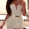 Deep v-neck strapless playsuit|disheefashion