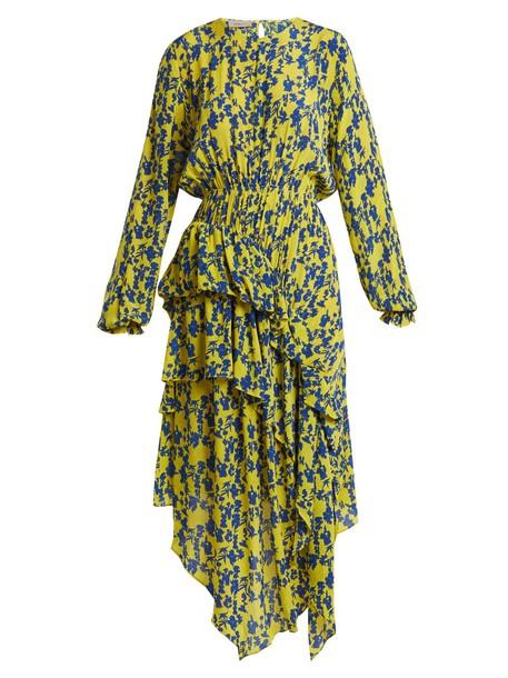 Preen Line dress ruffle floral print yellow