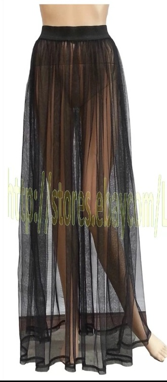 mesh long seethrou mesh skirt see trough skirt maxi skirt see through see through mesh