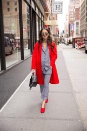 pants,cropped pants,striped pants,pajama style,shirt,striped shirt,coat,red coat,shoes,red shoes
