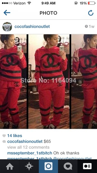 jumpsuit chanel red and black sweat suit