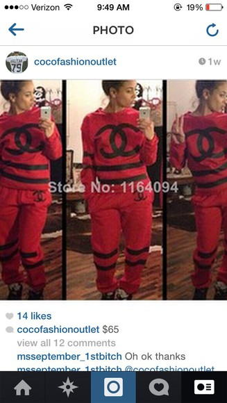 chanel jumpsuit red and black sweat suit