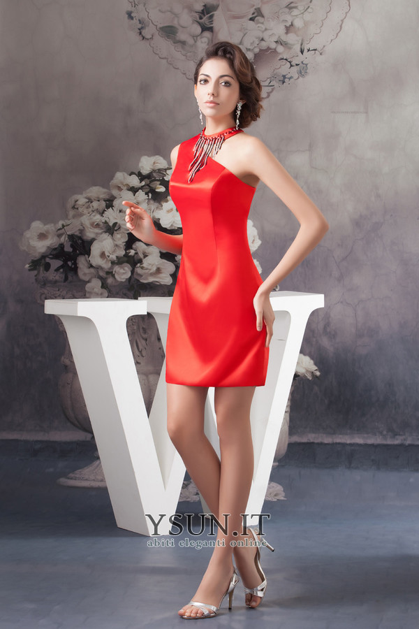Vestiti rossi corti eleganti Tubino Scollo Asimmetrico Naturale Non Specificato