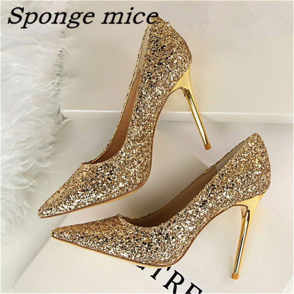 2017 New Pumps Glittering Fashion Sexy High Heel Summer ...