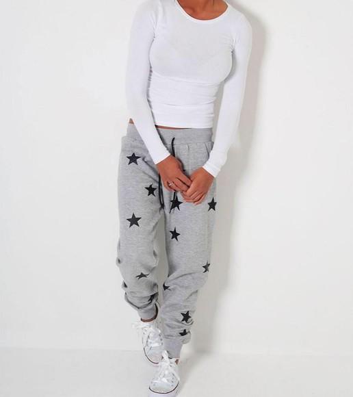 sweatpants top grey long sleeves stars