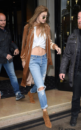 jacket bomber jacket velvet camel fall outfits model off-duty gigi hadid streetstyle jeans paris fashion week 2016