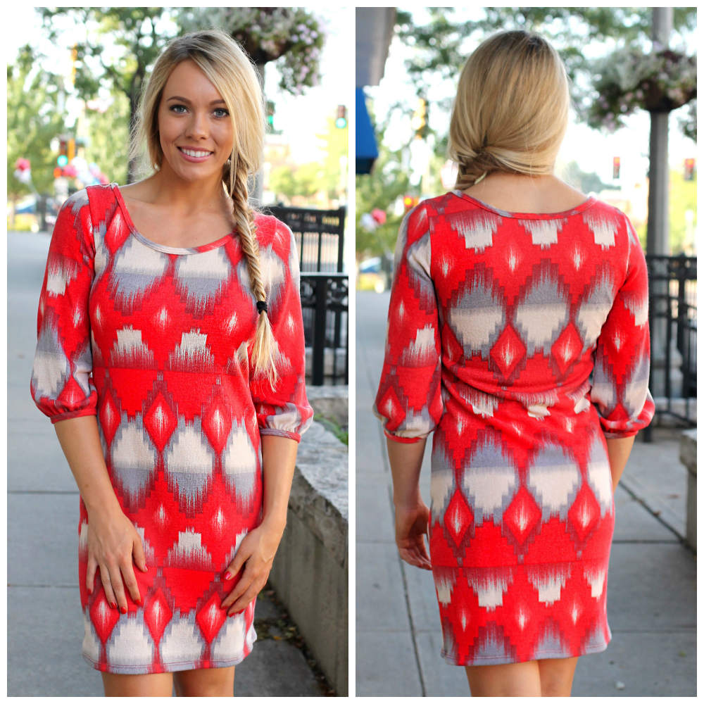 Ikat Print Sweater Dress | uoionline.com: Women's Clothing Boutique