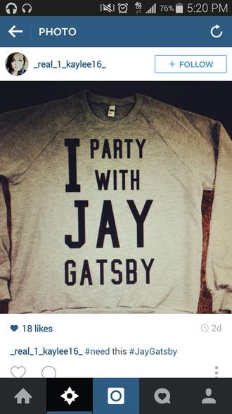 the great gatsby sweater/sweatshirt gray graphic sweater