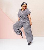 jumpsuit,grey,plus size jumpsuit,curvy,plus size,grey jumpsuit,shoes,slip on shoes,headband