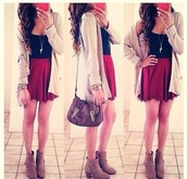 blouse,tank top,skirt,shoes,sweater,back to school,cardigan,long,cream,style,necklace,boots,top,red,skater skirt,black blouse