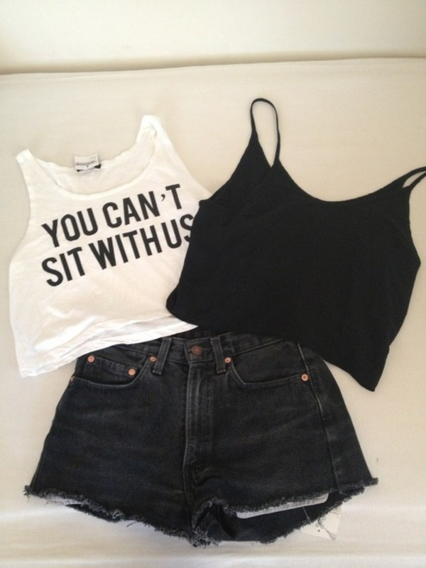 shorts youcantsitwithus shirt black white black jeans crop tops