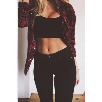 top croptop black red checkered plaid denim skinnyjeans skinnypants swag fashions style chic girly fun