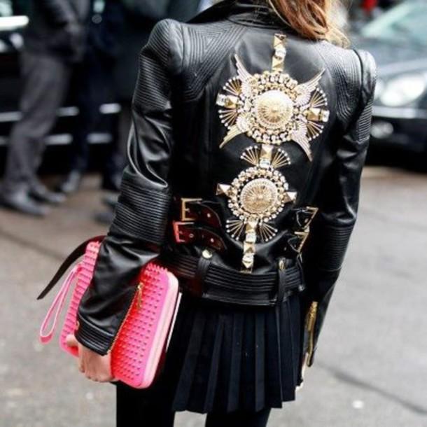 jacket black pink gold pretty girl biker rock chick bag