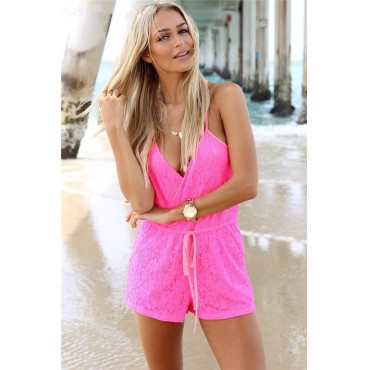 rosy lace playsuit