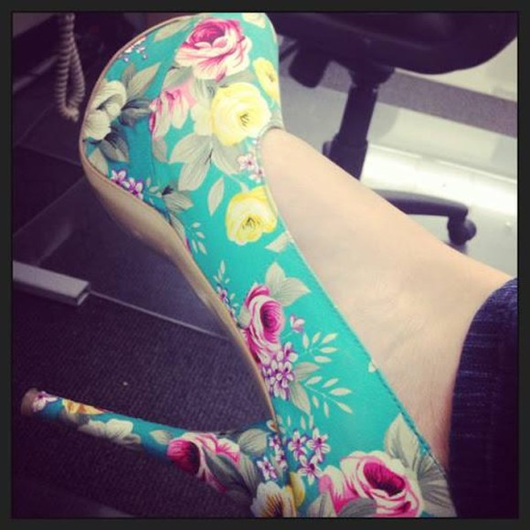 shoes platform floral shoes high heels