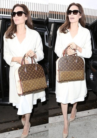sunglasses bag coat white angelina jolie fall outfits