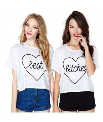 t-shirt top it girl shop best bitches quote on it friends bff bff shirts heart hippie lipstick red lipstick pink lipstick girl cool