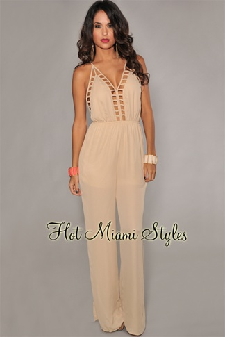Light Mocha Cut-Out Accent Jumpsuit