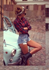 shirt,shorts,shoes,blue and red,summer,spring,clothes,cute,confidence,girly,plaid,flannel shirt,high waisted denim shorts,denim shorts,combat boots,black,red,scarf,red plaid shirt,plaid shirt,bandana,red tartan,blue,check,checkered,tucked into shorts,cut offs,headband,summer outfits,High waisted shorts,cut off shorts,amazing,denim,ripped,frayed,flannel,top,black boots,boots,hair,brunette,messy bun,sunglasses,vintage,pockets,buttons,mint,car,navy,girl,swag,Pin up,dc,dc martens,doc,martens,tumblr,cars,glasses,sun,DrMartens,chambray,summer shorts,indie,hipster,red chambray,outfit,chambray shirt,style,levi's shorts,head band. flannel. short shorts,plaid top,ripped jeans,red checked shirt,brandy melville,cute shorts,plaid blouse,tartan,tartan top,amazying,chemise,ankle boots,batoko,www.batoko.com,bandana print,wasted denim shorts,retro,trendy,lumberjack,lumber jack shirt,woodcutter,tumblr outfit,socks,hair accessory,jean short shorts,blue shorts,checked red shirt,pants,shooes,red and black,squared shirt,black sunglasses,hair band,black high heel boots,red top,any,red blouse,hi waisted,high waisted blue shorts,ripped shorts,high waisted denim levi's,black combat boots,hair bandana,red checks,checkers,jeans,short,short jeans,booty,hot,casual,demin shorts,distressed denim shorts,skater girl,floral,badass