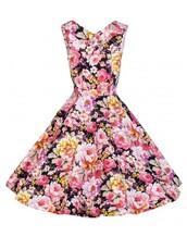 dress,audrey hepburn style dress,party dress,black dress,retro dress,backless,cotton,vintage,roses