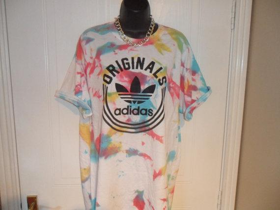 unisex customised  adidas acid wash tie dye t by mysticclothing