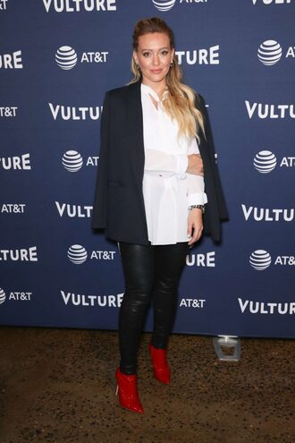 pants ankle boots shirt white white shirt hilary duff celebrity shoes
