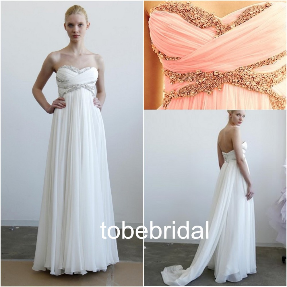 Aliexpress.com : Buy Custom made long crystal beaded sequined chiffon white spring summer wedding dresses ruched peach pleated beach bridal gown from Reliable gowns and dresses suppliers on Online Store 345275