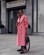coat,pink coat,wool coat,winter coat,slide shoes,handbag,round sunglasses