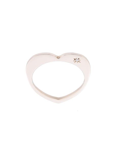 heart women ring gold white grey metallic jewels