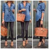 blouse,bag,jeans,shoes,grey jeans,acid washed skinny jeans,leopard print,leopard print high heels,shirt,jeans shirt,skinny jeans