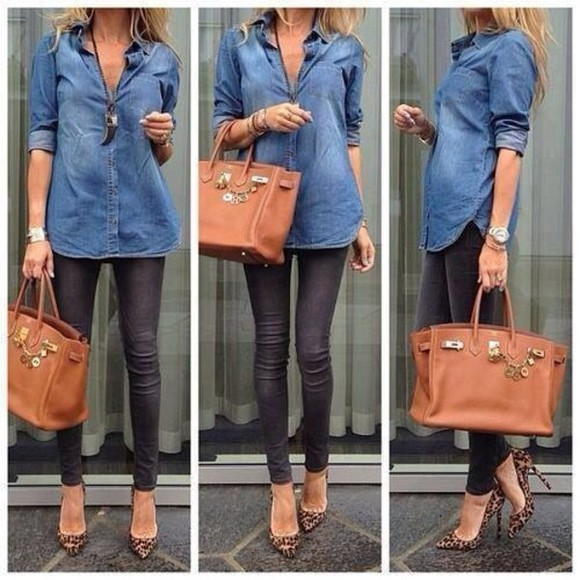 shirt jeans shirt skinny jeans blouse jeans bag shoes