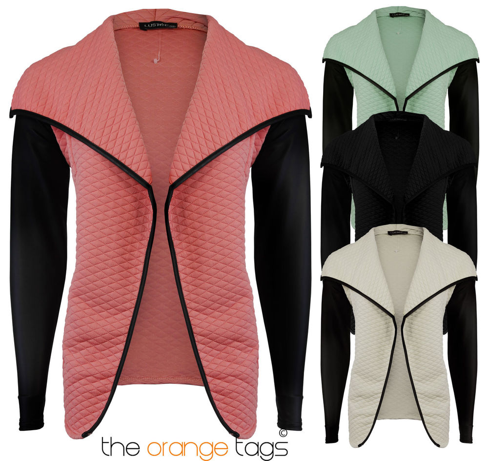 NEW LADIES QUILTED JACKET WOMENS PU LONG SLEEVE WATERFALL BLAZER TOP | eBay