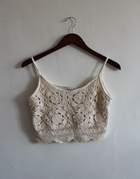 tops crochet white cream edit tags blouse crop tops crochet white ...