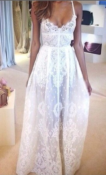 Dress White Dress Lace Dress Boho Chic Prom Dress Flowy Dress