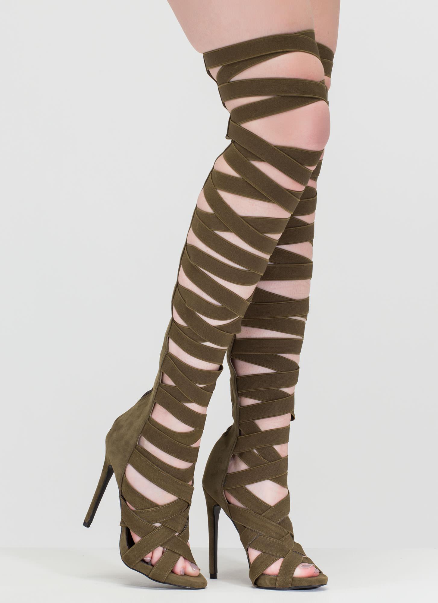 And Oohs Gladiator Heels OLIVE GREY BLACK - GoJane.com