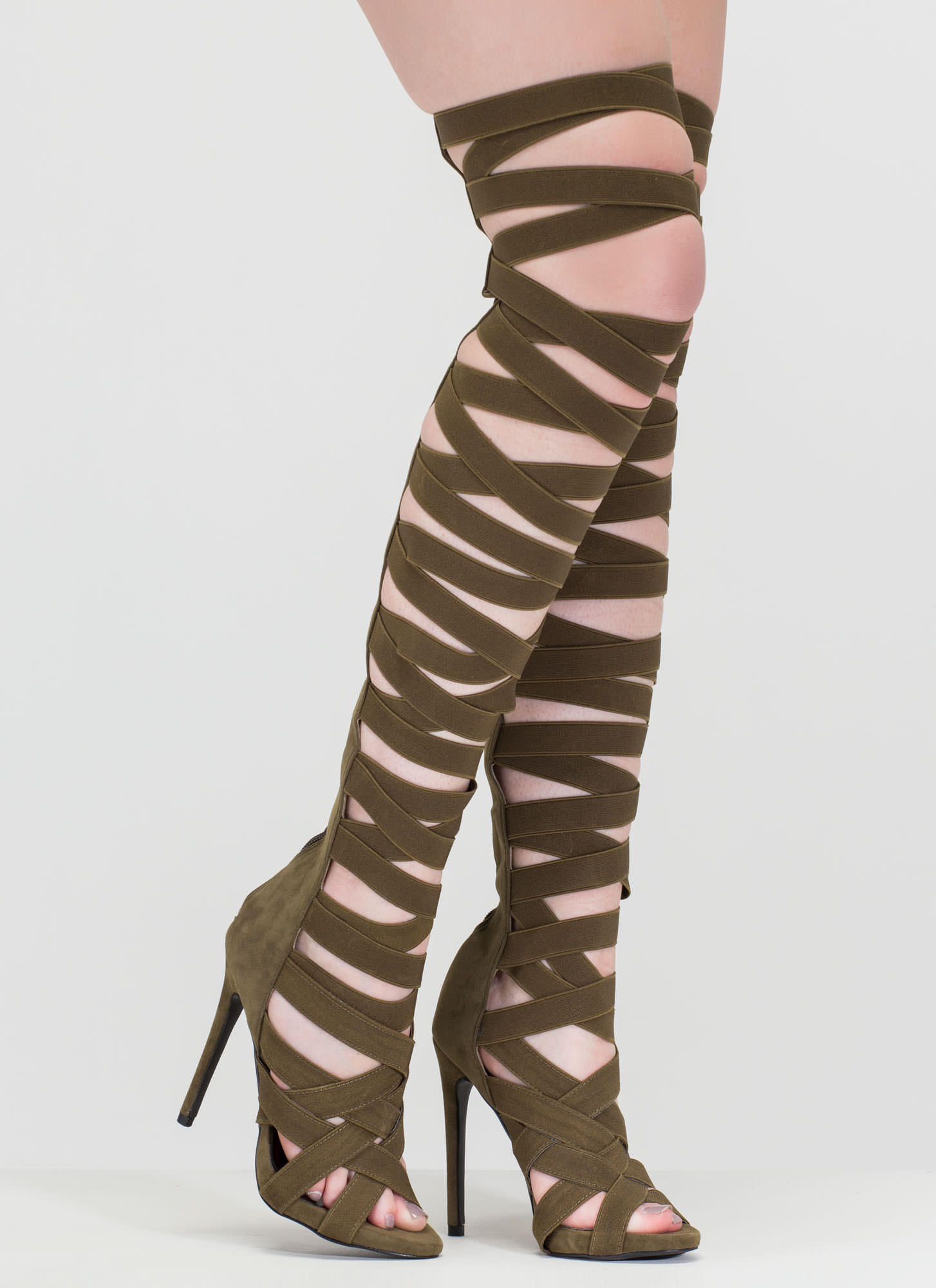 16ca38144d45 X s And Oohs Gladiator Heels OLIVE GREY BLACK - GoJane.com