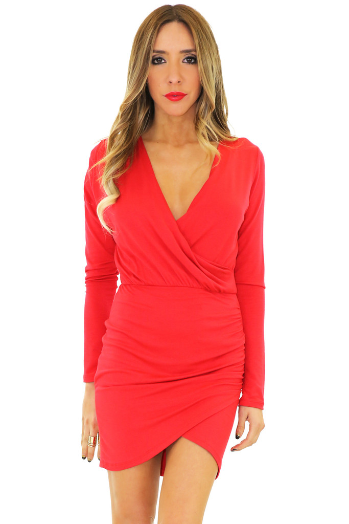 JANE DRAPED DRESS - Red | Haute & Rebellious